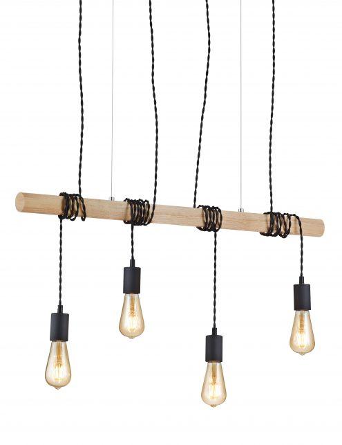 Poutre en bois à quatre lampes Reality Brody noir-2607ZW