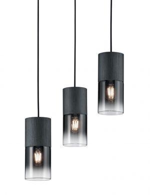Suspension à trois lumières verre fumé Trio Leuchten Robin noir-2648ZW