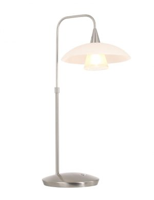 Lampe de table courbée en verre Steinhauer Tallerken acier-2657ST