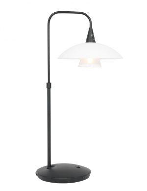 Lampe à pied courbé avec abat-jour en verre Tallerken Steinhauer métal et blanc-2657ZW