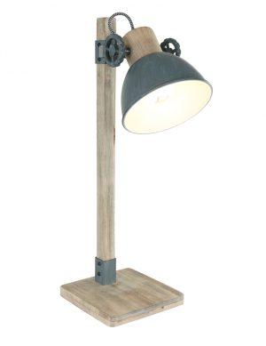 Lampe de table rurale Mexlite Gearwood bois avec gris-2665GR