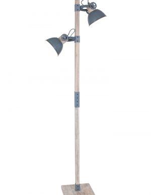 Lampadaire en bois avec abat-jour gris Mexlite Gearwood-2666GR