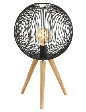 Lampe sur trépied avec abat-jour fil de fer Sputnik Anne Lighting noir et bois-2708ZW