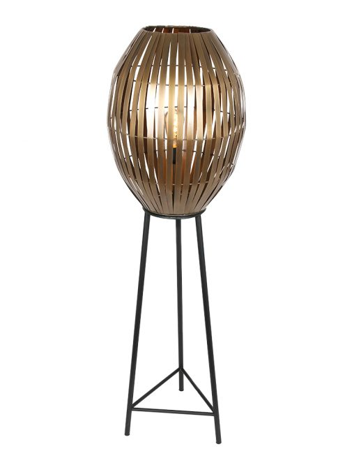 Lampe sur pied avec abat-jour panier Kyomi Light & Living noir et or-2832BR