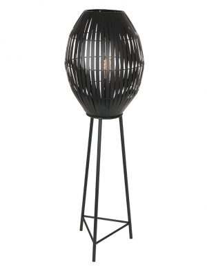 Lampe sur pied avec abat-jour panier Kyomi Light & Living noir-2833ZW