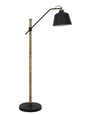 Lampadaire avec socle en bois Banu Light & Living noir-2834ZW