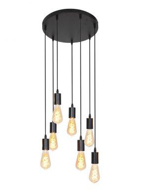 Suspension avec sept pendentifs Brandon Light & Living noir-2836ZW