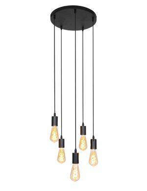 Suspension avec cinq pendentifs Brandon Light & Living noir-2838ZW