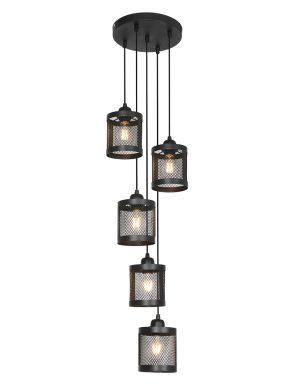 Suspension à cinq spots type cage Laetitia Light & Living noir-2879ZW