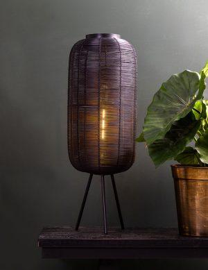 Lampe à poser rotin en métal Tomek Light & Living noir-2908ZW