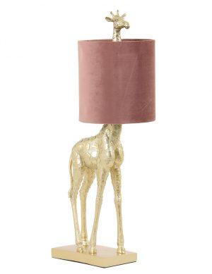 Lampe girafe dorée avec abat-jour Giraffe Light & Living or et rose-2923GO