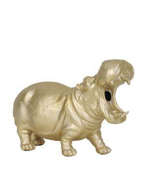 Lampe hippopotame à poser Hippo Light & Living couleur or-2924GO