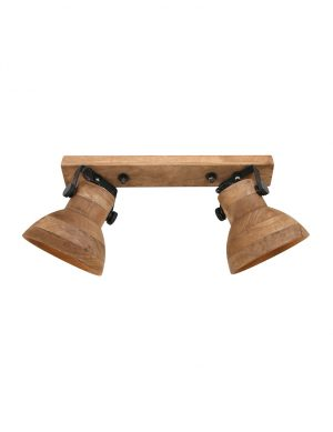 Plafonnier en bois à double spots Llanio Light & Living marron-2938B