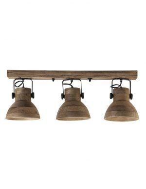 Plafonnier en bois à trois spots Llanio Light & Living marron-2939B