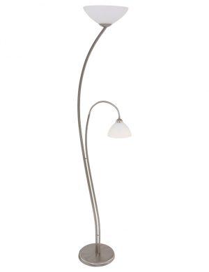 Lampadaire élégant en acier et en verre à double lumière-6838ST