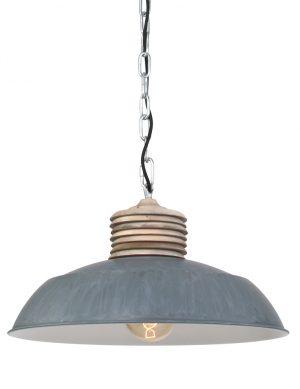 Lampe à suspension en bois Mexlite Samso grise-7974GR