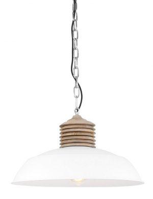 Grande lampe avec détails en bois Mexlite Samso blanc-7974W