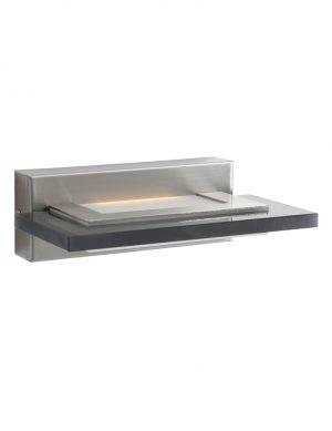 Applique moderne rectangulaire avec verre fumé Steinhauer Plato LED acier-7995ST