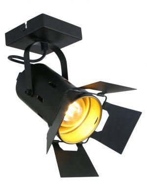 Spot plafonnier de cinéma Mexlite Carré noir et doré-7996ZW