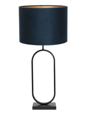 Lampe à poser avec abat-jour Jamiri Light & Living noir et bleu pétrole-9335ZW