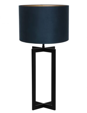 Lampe avec abat-jour et pied à quatre parties Mace Light & Living noir et bleu pétrole-9347ZW