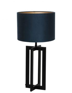 Lampe avec abat-jour et pied en rectangle Mace Light & Living noir et bleu pétrole-9369ZW