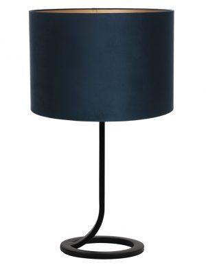 Lampe à poser avec pied en lasso Mavey Light & Living noir et bleu pétrole-9375ZW