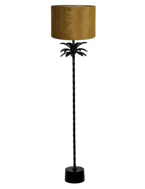 Lampadaire palmier avec abat-jour Armata Light & Living noir et jaune doré-9382ZW