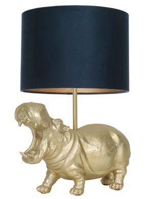 Lampe hippopotame avec abat-jour Hippo Light & Living couleur or et bleu pétrole-9406GO