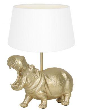 Lampe hippopotame avec abat-jour Hippo Light & Living couleur or et blanc-9408GO