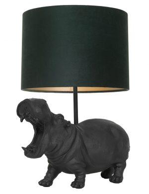 Lampe hippopotame avec abat-jour intérieur or Hippo Light & Living noir-9411ZW