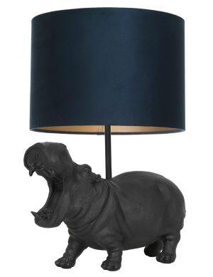 Lampe hippopotame avec abat-jour Hippo Light & Living noir et nuances de vert-9412ZW