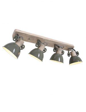 Plafonnier industriel à quatre spots Gerwood Mexlite bois et vert