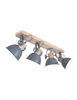 Plafonnier industriel à quatre spots Gerwood Mexlite bois et gris