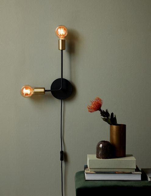 Applique à deux spots type ampoule Joséfine Nordlux noir