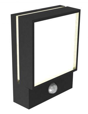 Lampe d'extérieur design rectangle avec détecteur de mouvement Egon Norldux noir