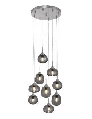 Suspension LED avec huit spots en verre fumégris-2485ST