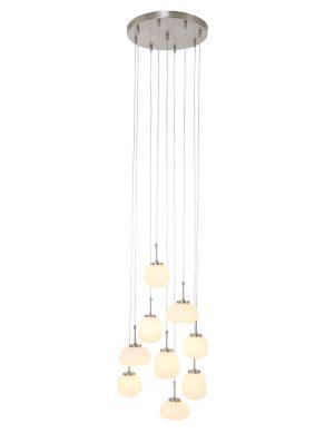 Lampe vide acier avec neuf boules verre blanc-2567ST