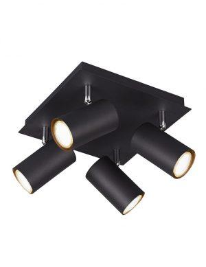 Plafonnier carré à quatre spots noir-2596ZW
