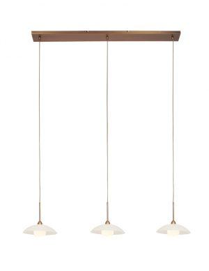 Suspension trois lumières LED avec soucoupes bronze-2739BR