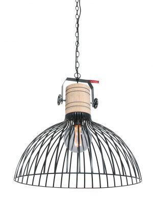 Suspension fil de fer noir avec bobine bois-2998ZW