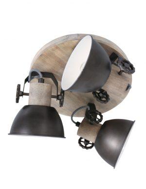 Plafonnier rond en bois trois spots anthracite-3063A