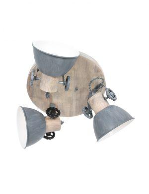 Plafonnier industriel trois spots gris-3063GR