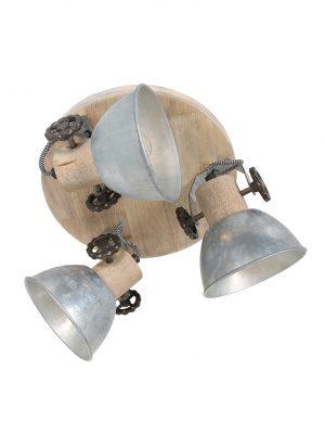 Plafonnier industriel en bois trois spots métal-3063NI