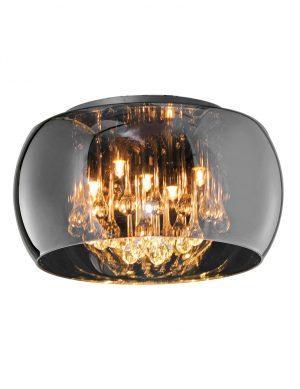 Lustre plafonnier verre fumé-3143CH