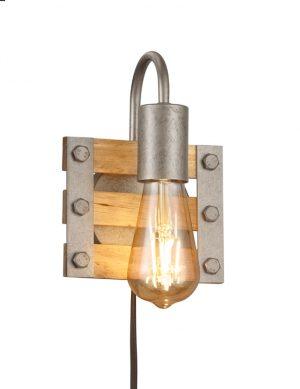 Applique industrielle en bois acier-3157ST