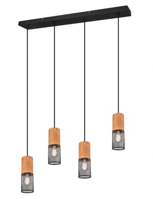 Suspension quatre lumières noir bois-3162ZW