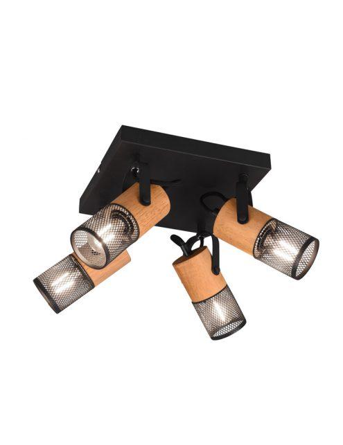 Plafonnier quatre lumières bois-3164ZW