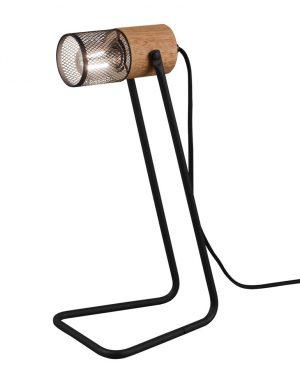 Lampe de table noire et bois-3165ZW
