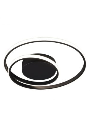 Plafonnier LED double anneaux noir-3213ZW